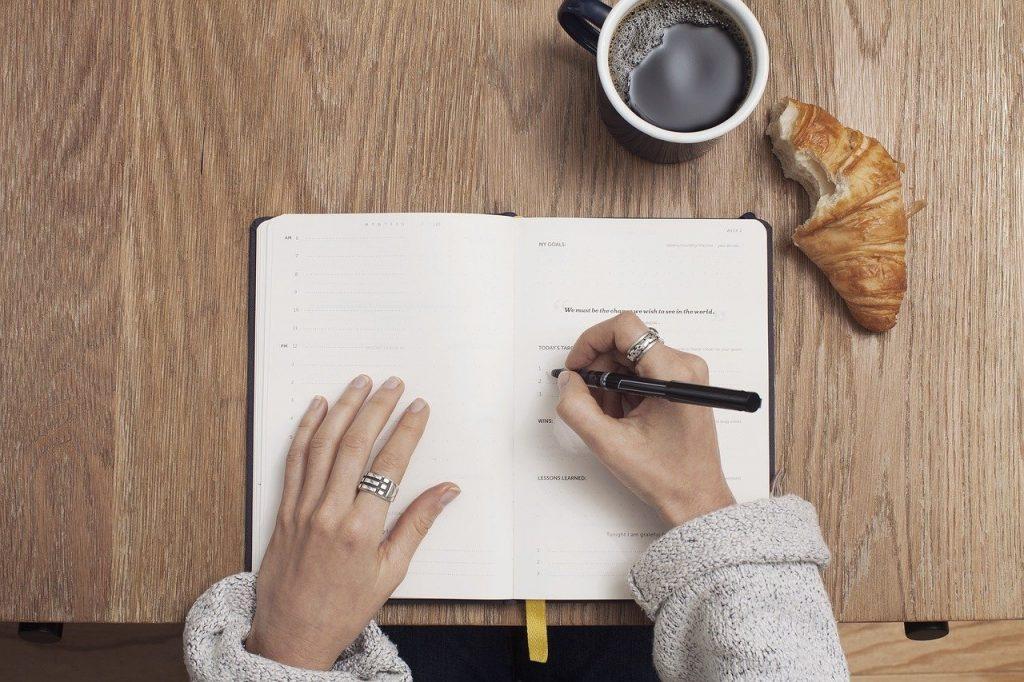 coffee, write, table